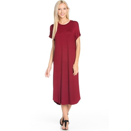Sassy Apparel Womens Lounging to Casual Soft Comfortable Elastic Loose Fit Flowy Round Neck Short Sleeve Solid Color Tunic Long Fashion Dress for $<!---->