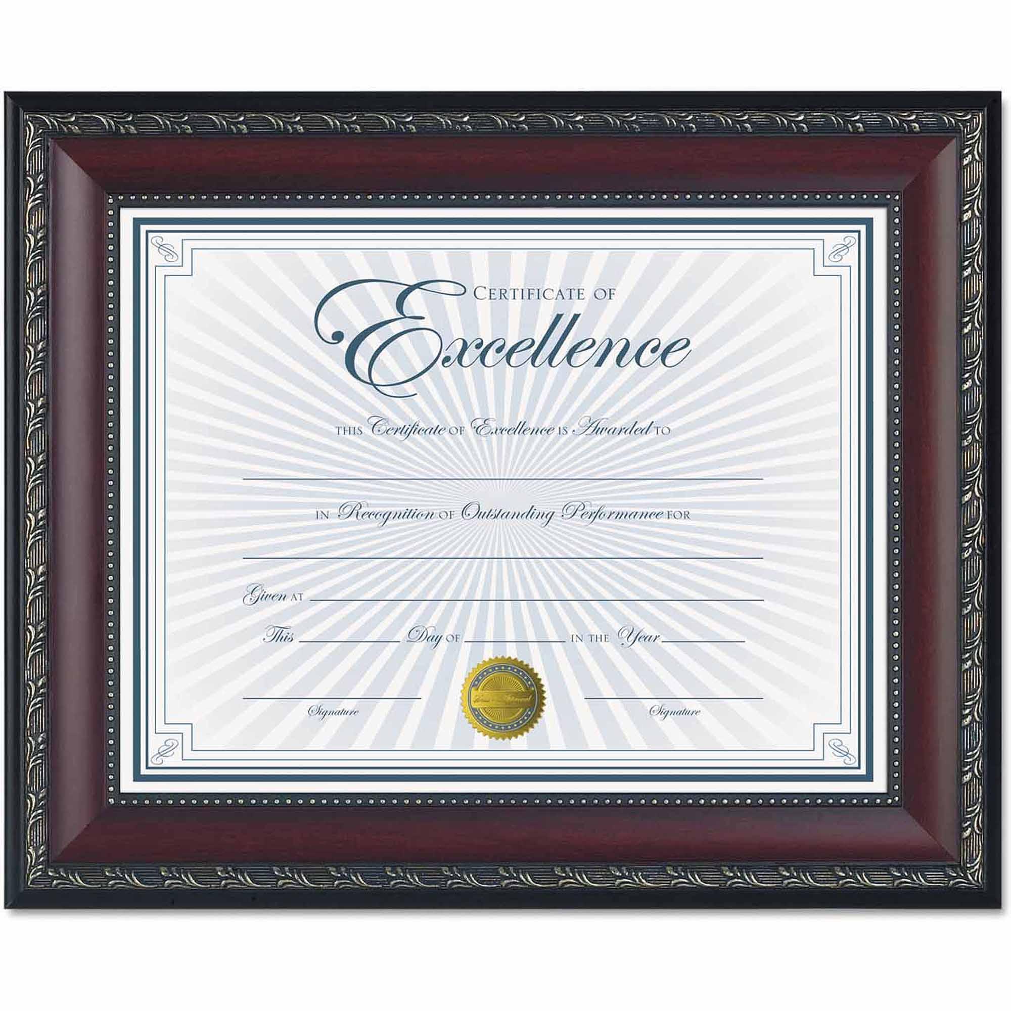"""DAX World Class Document Frame with Certificate, Walnut, 8-1/2"""" x 11"""""""