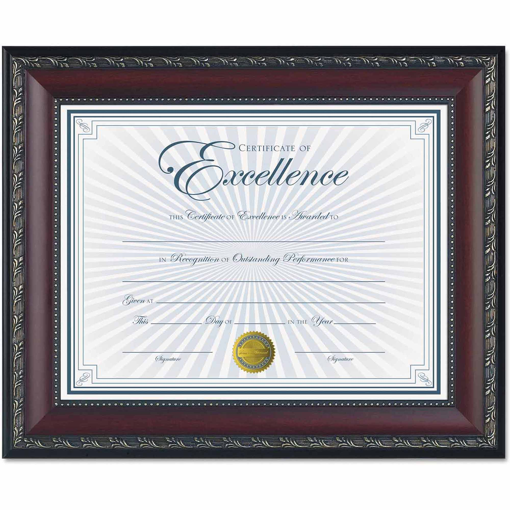 "DAX World Class Document Frame with Certificate, Walnut, 8-1/2"" x 11"""