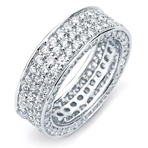 Sterling Silver Cubic Zirconia 3-row Engagement-style Eternity Band Size 8