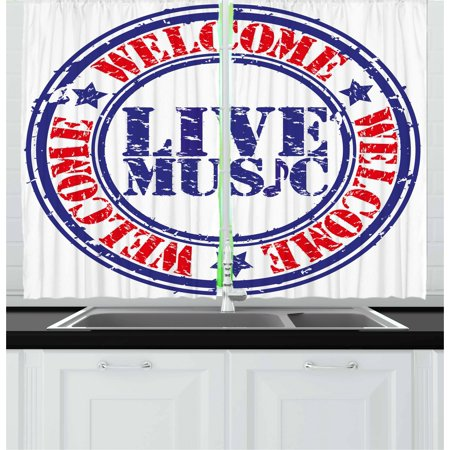 Live 2 Cd Set - Popstar Party Curtains 2 Panels Set, Grunge Damaged Looking Welcome Live Music Rubber Stamp Festival Symbol, Window Drapes for Living Room Bedroom, 55W X 39L Inches, Blue Red White, by Ambesonne