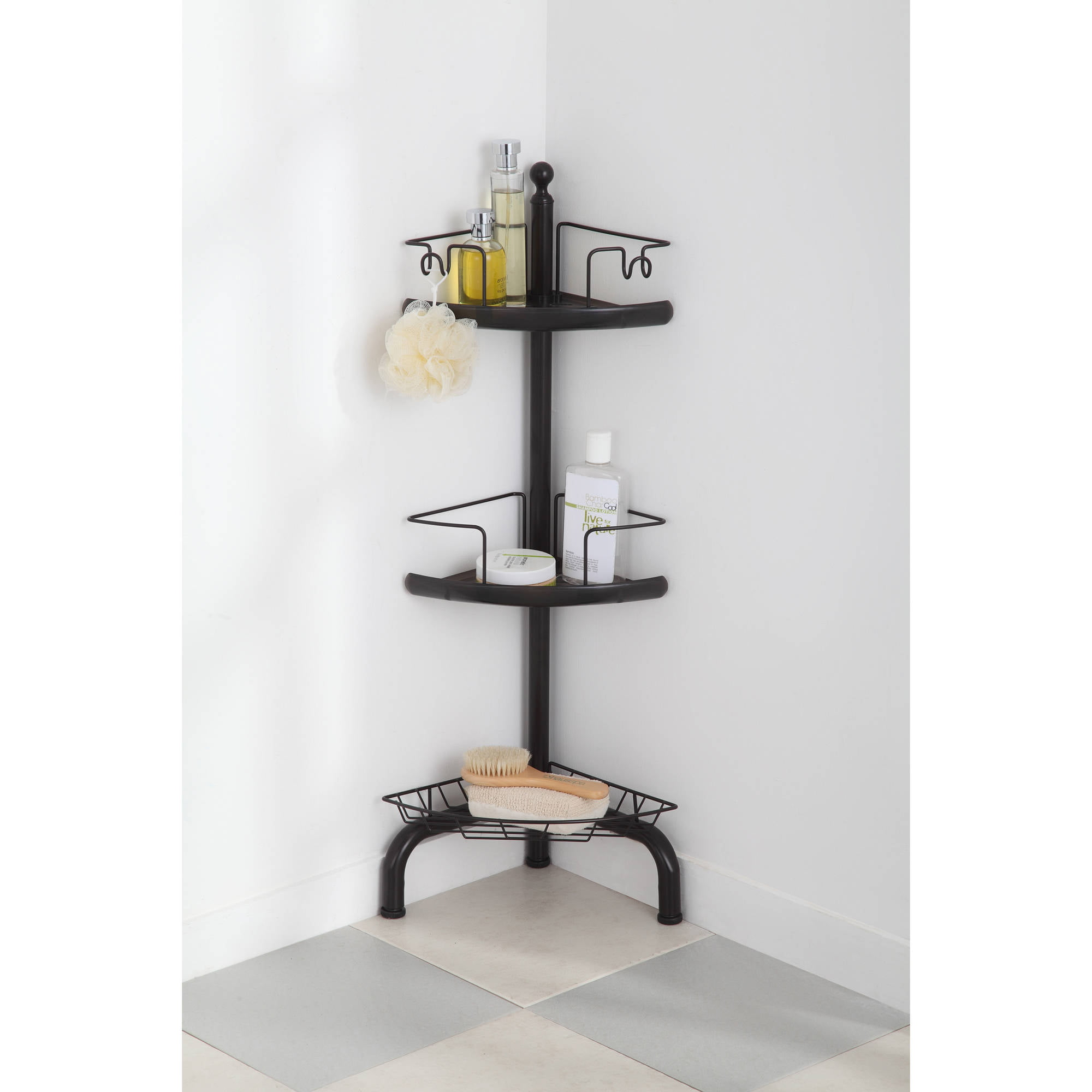 HomeZone 3 Tier Adjustable Corner Shower Caddy Oil Rubbed Bronze