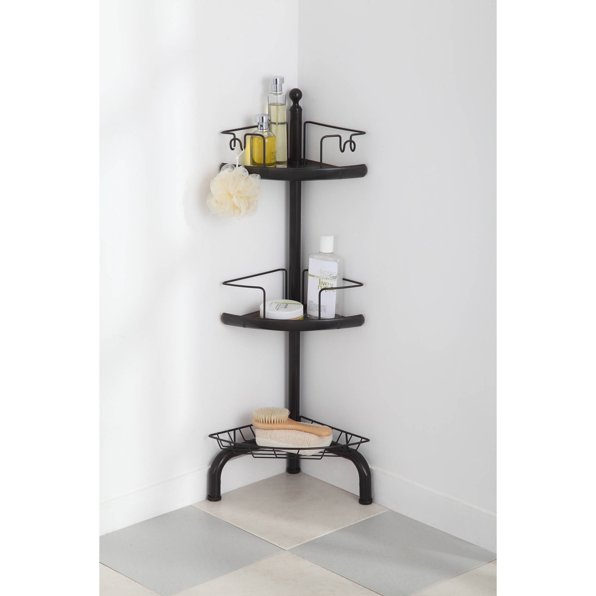 Homezone 3 Tier Adjustable Corner Shower Caddy Oil Rubbed