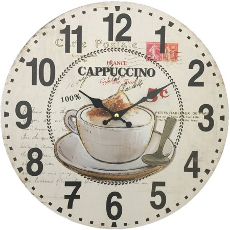 Cappuccino Kitchen Clock (Cappuccino and Coffee Cup Wall Clock; 13.38
