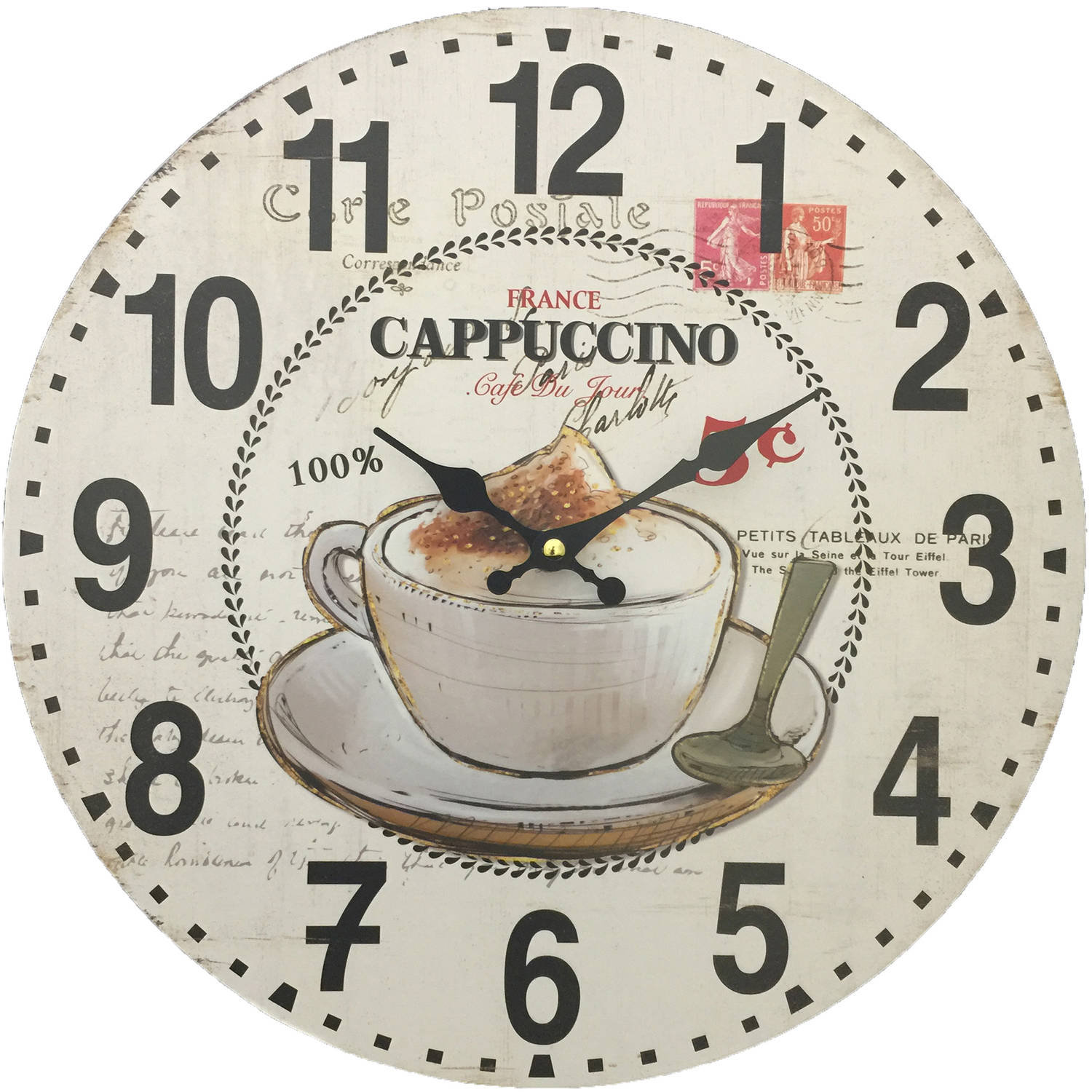 "Cappuccino and Coffee Cup Wall Clock; 13.38"" diagonal in clock face size; Great for shop, dorm, kitchen"