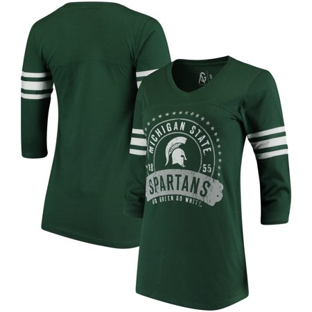 Michigan State Spartans Alta Gracia (Fair Trade) Women's Lulu Striped Football 3/4-Sleeve T-Shirt - Hunter Green