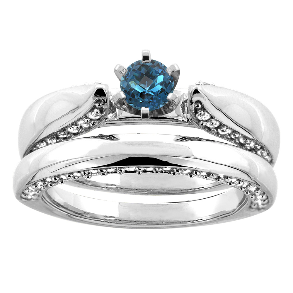 14K White Gold Natural London Blue Topaz 2-piece Bridal Ring Set Diamond Accents Round 5mm, size 8 by Gabriella Gold