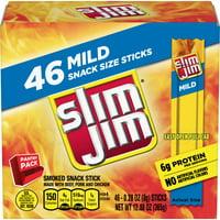 Slim Jim smoked snack sticks pantry pack, mild, .28 oz., 46-count