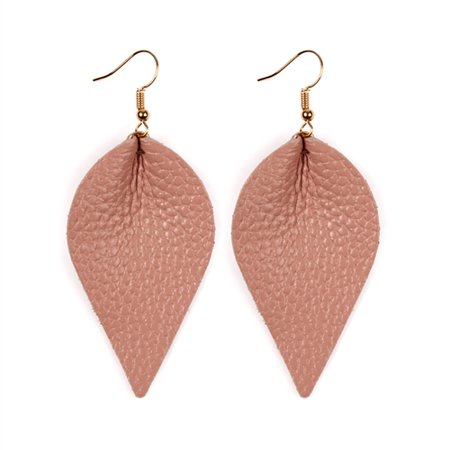 Fan Shape Earrings - RIAH FASHION TEARDROP SHAPE PINCHED LEATHER EARRINGS