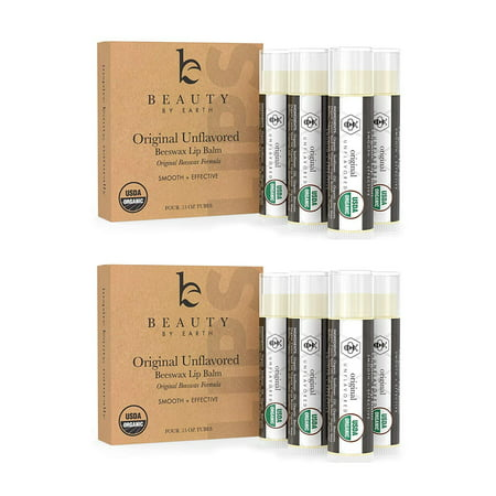 Lip Balm - Organic Pack of 8 Tubes Unflavored Original Moisturizer to Repair for Dry, Chapped and Cracked Lips with The Best Natural Ingredients - Great Gifts for Christmas and Stocking