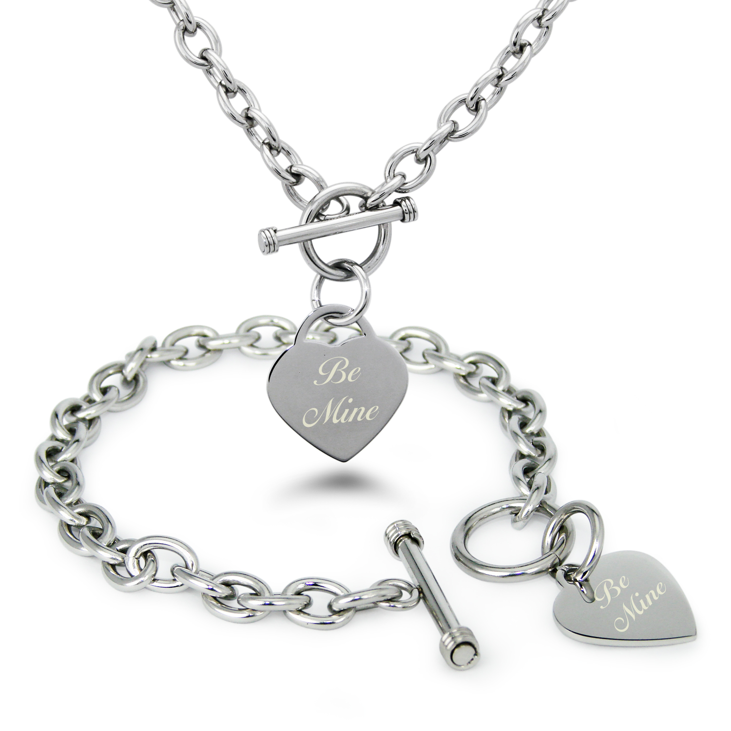 Stainless Steel Be Mine Heart Charm Toggle Bracelet & Necklace