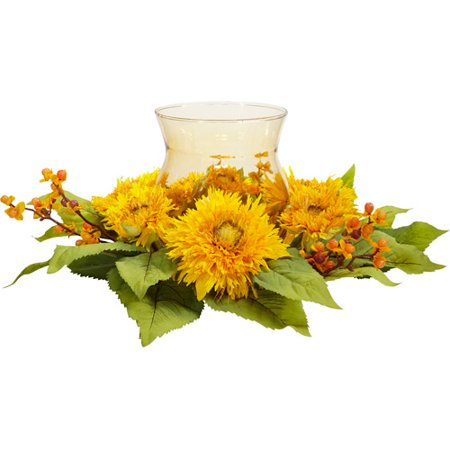 Nearly Natural Golden Sunflower Candelabrum Silk Flower Arrangement Flower Arrangements Sunflowers