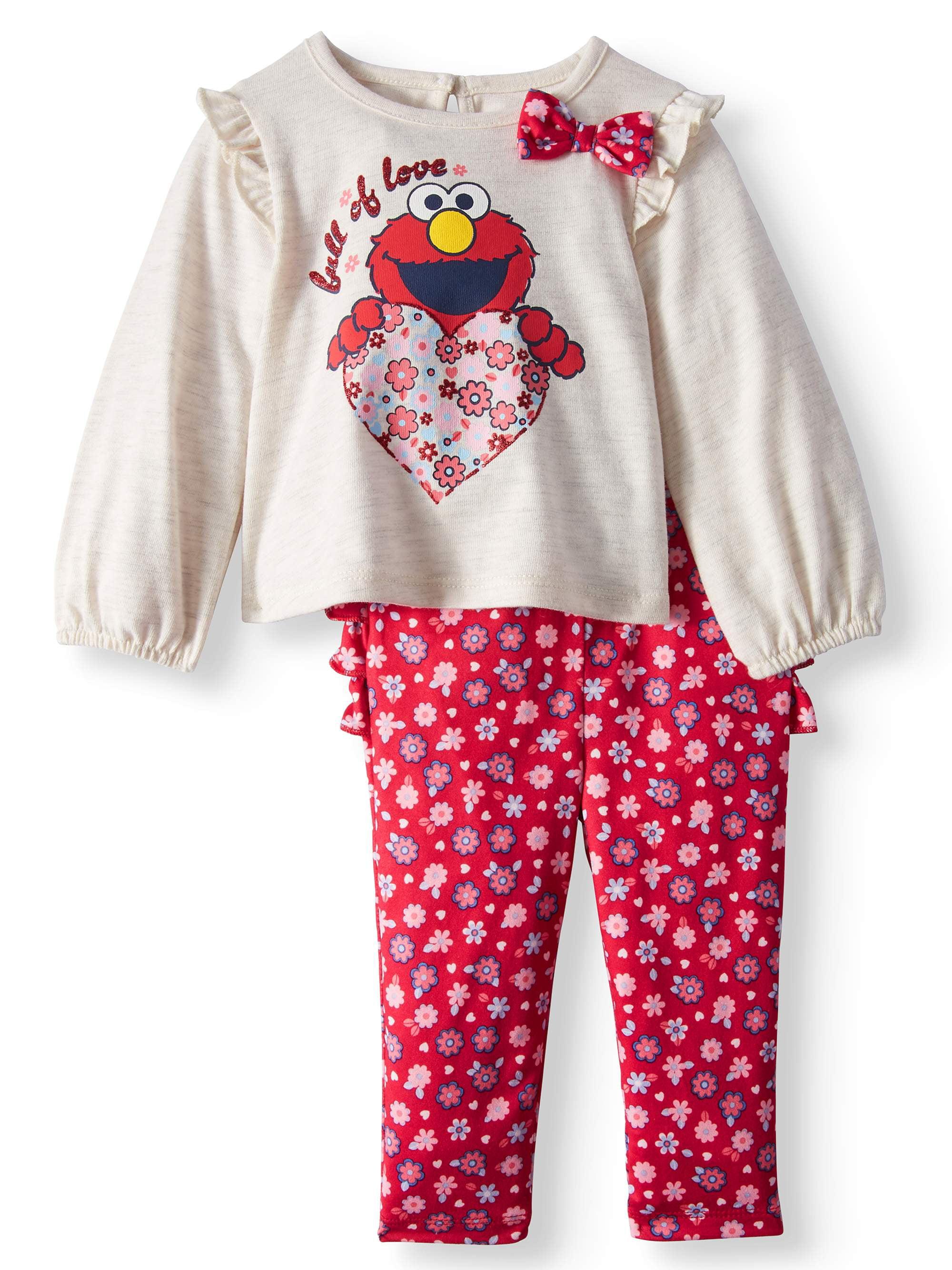 Ruffle Sleeve Long Sleeve Top & Rumba Ruffle Leggings, 2-Piece Outfit Set (Baby Girls)