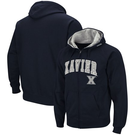 Xavier Musketeers Colosseum Arch & Logo Tackle Twill Full-Zip Hoodie - Navy