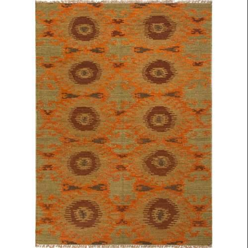 Flatweave Tribal Pattern Orange/Green  Wool Area Rug (2x3)
