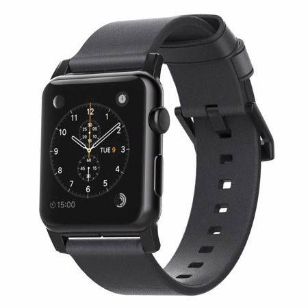 Nomad 42mm Apple Watch Modern Leather Strap - Slate Gray (Black Hardware) - Custom Steel Lugs and Buckle - One Size Leather Watch Strap Plated Buckle