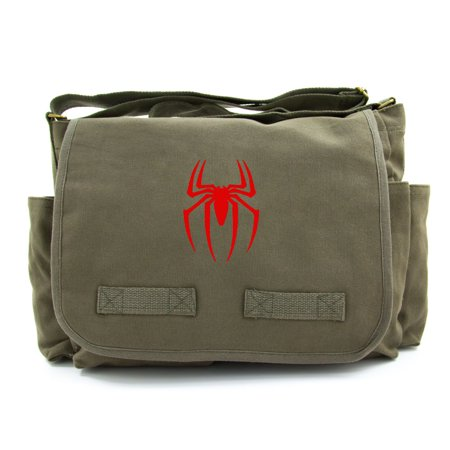 Spiderman Symbol Army Heavyweight Canvas Messenger Shoulder Bag