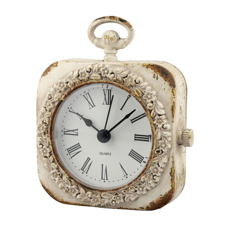 - Small Weathered White Tabletop Clock
