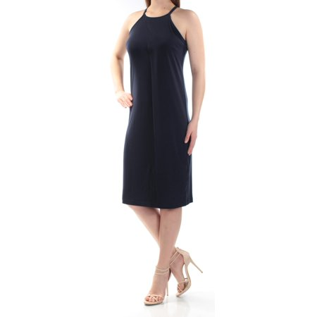 BAR III Womens Navy Sleeveless Halter Below The Knee Sheath Dress  Size: S Halter Sheath Dress