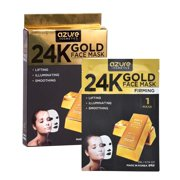 AZURE 24K Gold Firming Sheet Face Mask - Hydrating, Toning & Firming | Helps Reduce Wrinkles & Fine Lines | Anti Aging | Made in Korea - 5 Pack