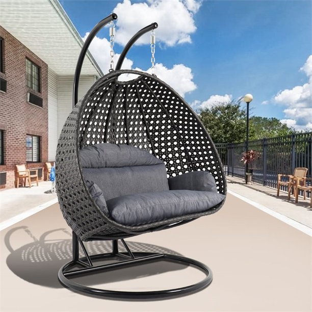 Leisuremod Outdoor Modern Wicker Hanging Double Egg Swing Chair In Charcoal Blue Walmart Com Walmart Com