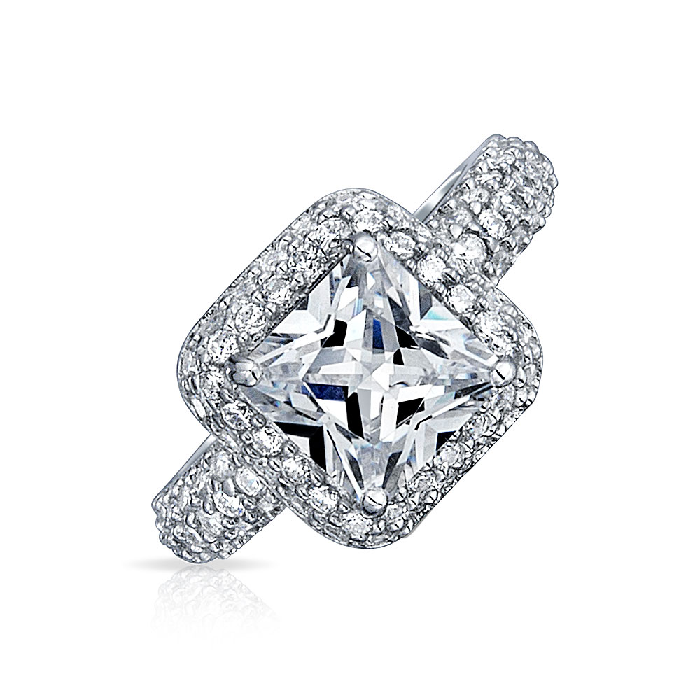 Bling 925 Silver Pave Square Princess Cut CZ Pave Engagem...