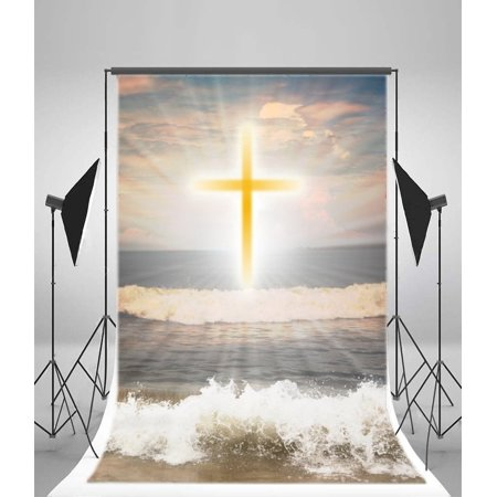 HelloDecor Polyester Fabric 5x7ft Photography the Cross Backdrop Seawaves Shine Rays Clouds Religious Faith Video Studio Props Child Baby Kids Portraits](Wizard Of Oz Backdrop)