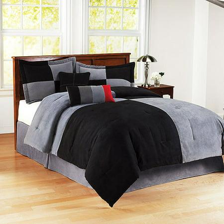 Mainstays Colorblock Comforter Set Blac Walmart Com