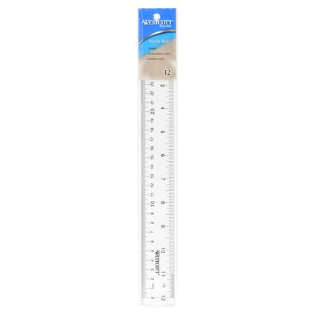 Westcott Transparent 12-inch Acrylic Ruler (Clear)