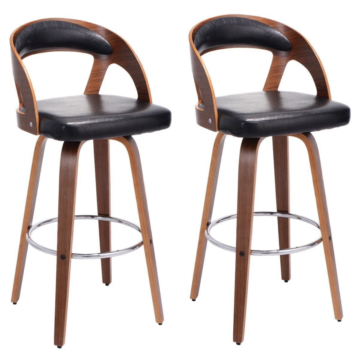 Costway Set of 2 Bentwood Bar Stools PU Leather Modern Bar Stool Bistro Pub Chair Set by Costway
