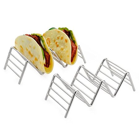 - Stainless Steel Taco Holder Stand Taco Shell Holder Rustproof Rack Bracket Tray Style for Baking Dishwasher Holds 2 Tacos