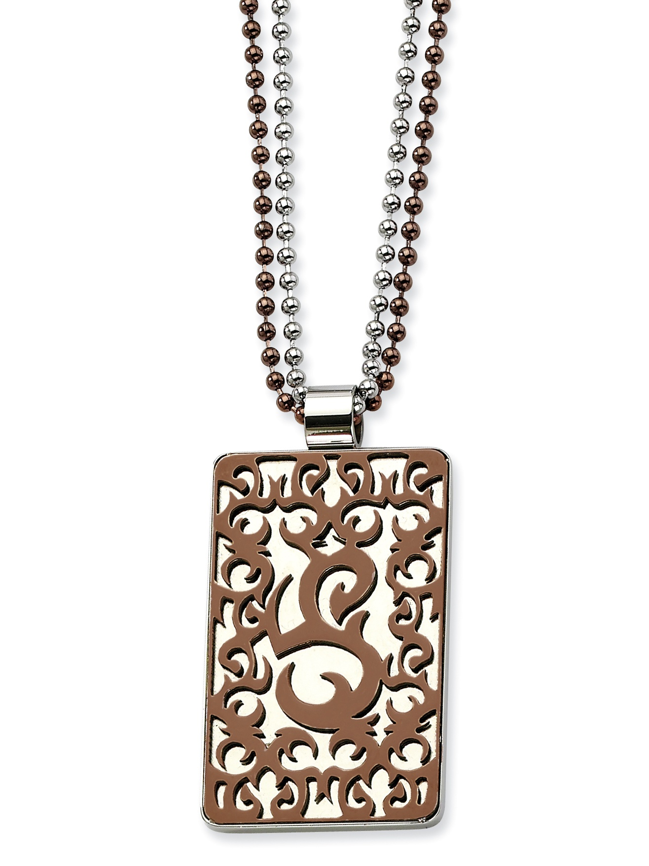 Stainless Steel Swirls Brown IP-plated 24in Necklace SRN451