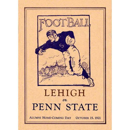 NCAA - 1921 Penn State Nittany Lions vs. Lehigh Mountain Hawks 36 x 48 Canvas Historic Football Poster