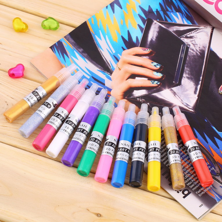 Color Nail Polish 3D Nail Art Polish Painted Pen Liner Painting Pen Carved Pen Kit Set 12 color