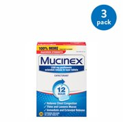 (3 Pack) Mucinex Maximum Strength 12 Hour Chest Congestion Expectorant Relief Tablets, 1200 mg, 28 Count, Thins & Loosens Mucus