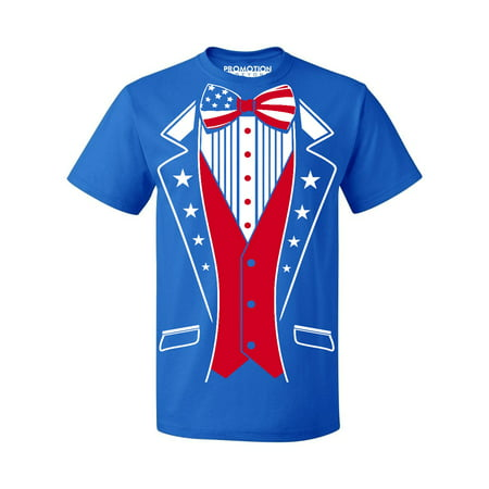 USA Tuxedo Patriotic 4th of July Men's T-shirt, M, Royal - 4 Of July Shirts