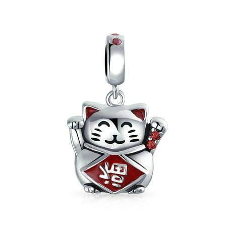 Japanese Maneki Neko Lucky Cat Good Fortune Dangle Charm Bead For Women 925 Sterling Silver Fits European Bracelet