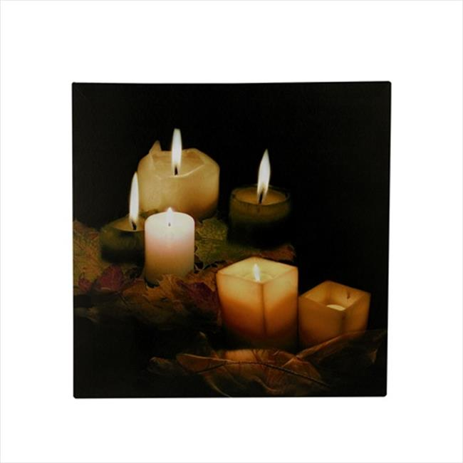 NorthLight 12 inch Battery Operated 5 LED Lighted Candle And Leaves Scene Canvas Wall Hanging