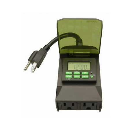 Woods 50014WD Outdoor 7-Day Digital Plug-In Timer, 2 Grounded Outlets ()