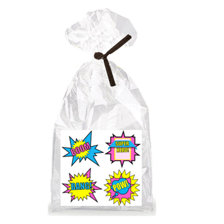Girls's Super Hero Theme Party Supplies - 12 Party Favor Bags with Twist - Superhero Themed Wedding