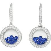 Floating Dark Blue CZ Sterling Silver Designer Earrings
