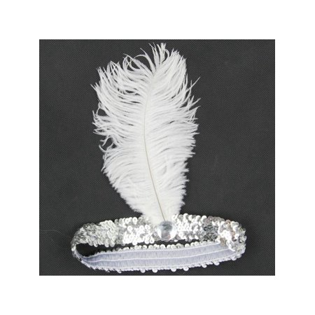 MarinaVida Vintage Sequin Feather Headband 1920s Great Gatsby Flapper Headpiece - Blue Headpiece