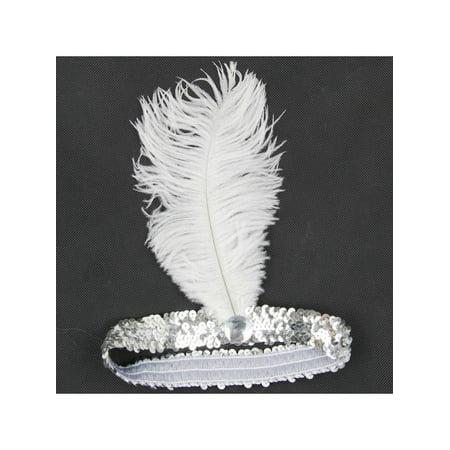 MarinaVida Vintage Sequin Feather Headband 1920s Great Gatsby Flapper Headpiece