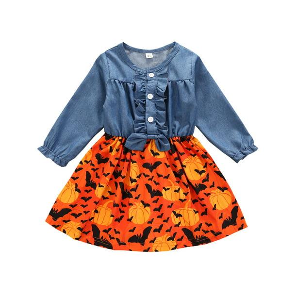 Xingqing Baby Girls Dresspumpkin Halloween Outfits Demin 12 18 Months Walmart Com Walmart Com