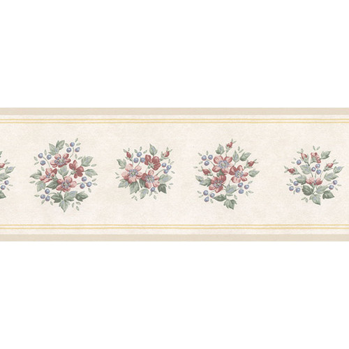 Norwall Wallcoverings Inc Floral Prints II 15' x 4.18'' Mini Bouquet Border Wallpaper