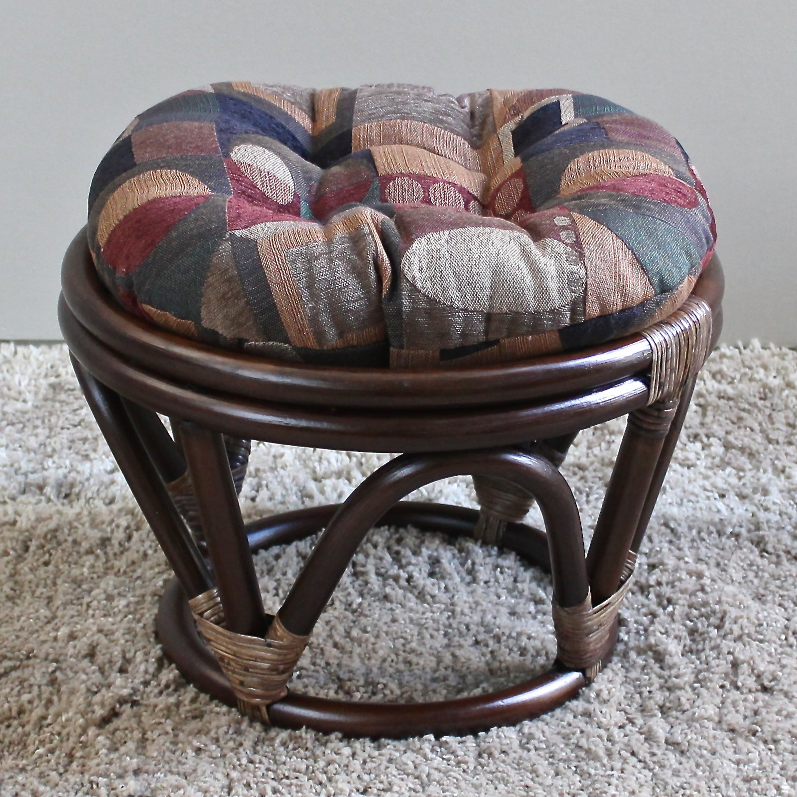 International Caravan Papasan Stool with Jacquard Chenille Cushion