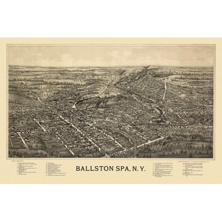 Saratoga Spa Parts - Historic Map of Ballston Spa New York 1891 Saratoga County Poster Print