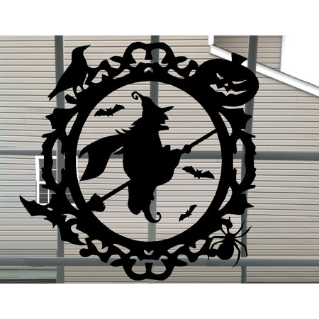 Decal ~  Witch in Halloween Frame ~ Wall or Window Decal 13