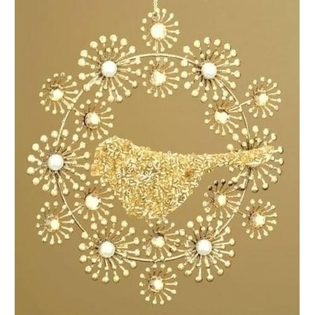 Beaded Gold Wreath with Bird Christmas - Beaded Christmas Ornaments