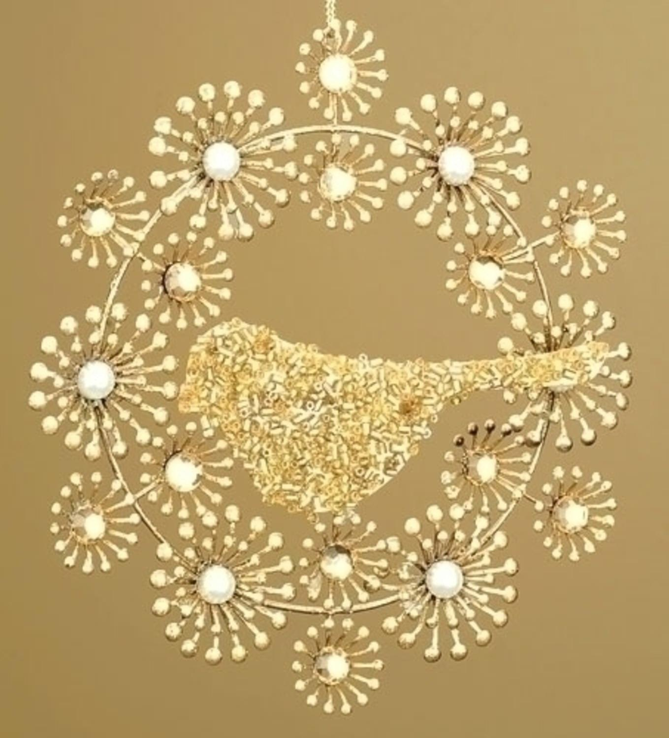 Winter's Beauty Beaded Gold Wreath with Bird Christmas Ornament